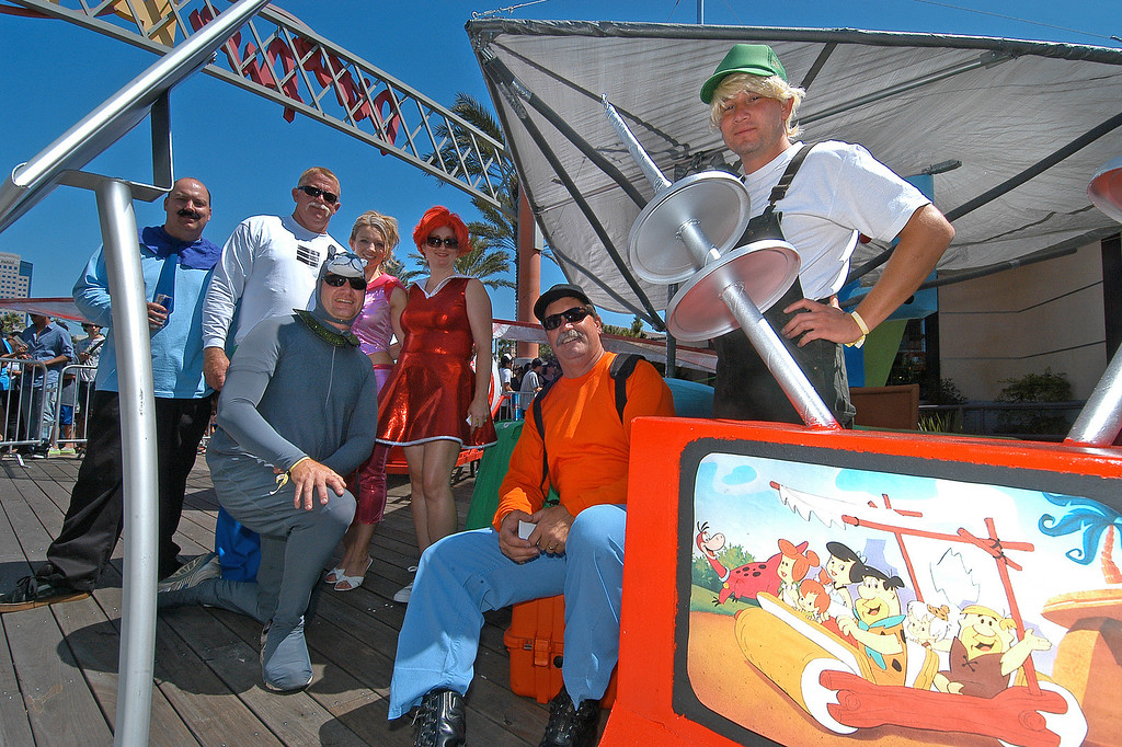 . 08/21/10:  The members of Team Jetsons, of Long Beach and Carson, pose for a group shot at the Red Bull Flugtag Long Beach at Rainbow Harbor on Saturday, August 21, 2010..Photo by Diandra Jay/Press-Telegram