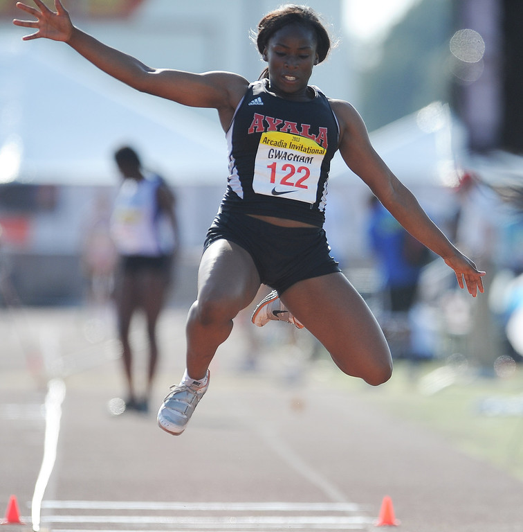 Description of . Ayala's Ifunanya Gwacham competes in the triple jump during the Arcadia Invitational at Arcadia High School on Saturday, April 6, 2013 in Arcadia, Calif.  (Keith Birmingham Pasadena Star-News)