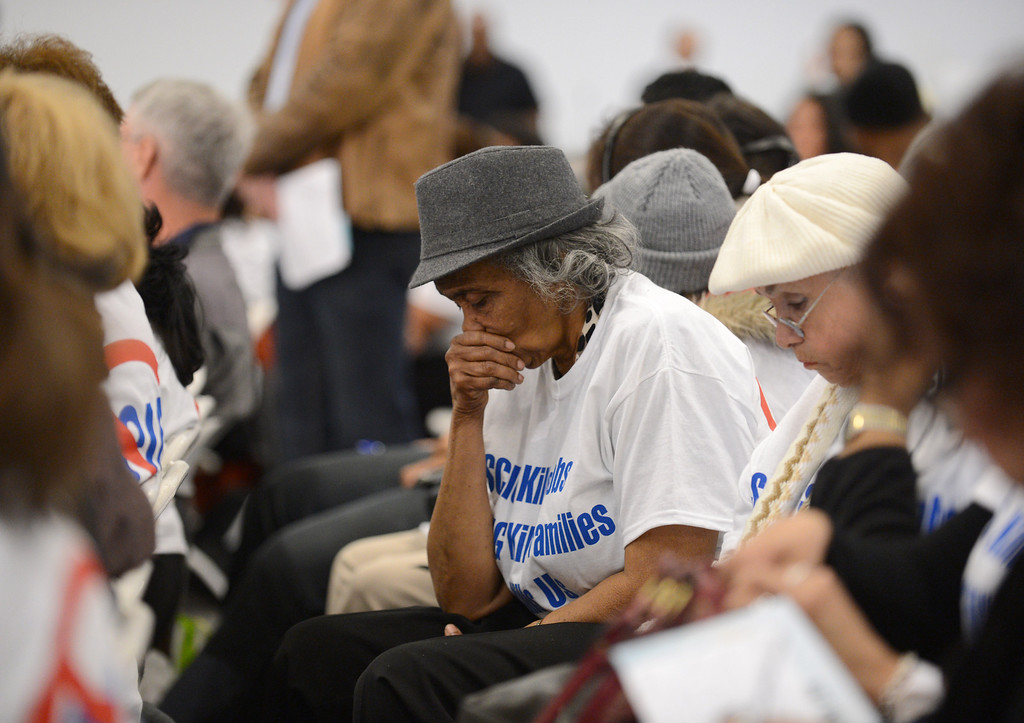 . Momentum in the hall seemed to be favoring a positive vote for SCIG, reflected on the face of Evelyn Knight, who was hoping to defeat SCIG. LA Harbor Commission meeting to determine the fate of the SCIG rail terminal, or Southern California International Gateway.    Photo by Brad Graverson 3-7-13