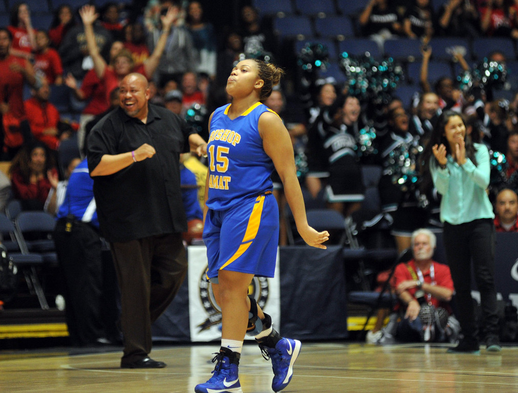 Description of . Bishop Amat's Leeah Powell (#15) reacts after their loss to Canyon Springs in the CIF-SS Division 1A girls basketball finals at the Anaheim Arena on Friday February 28, 2013. Canyon Springs beat Bishop Amat 48-46. (SGVN/Staff Photo by Keith Durflinger)