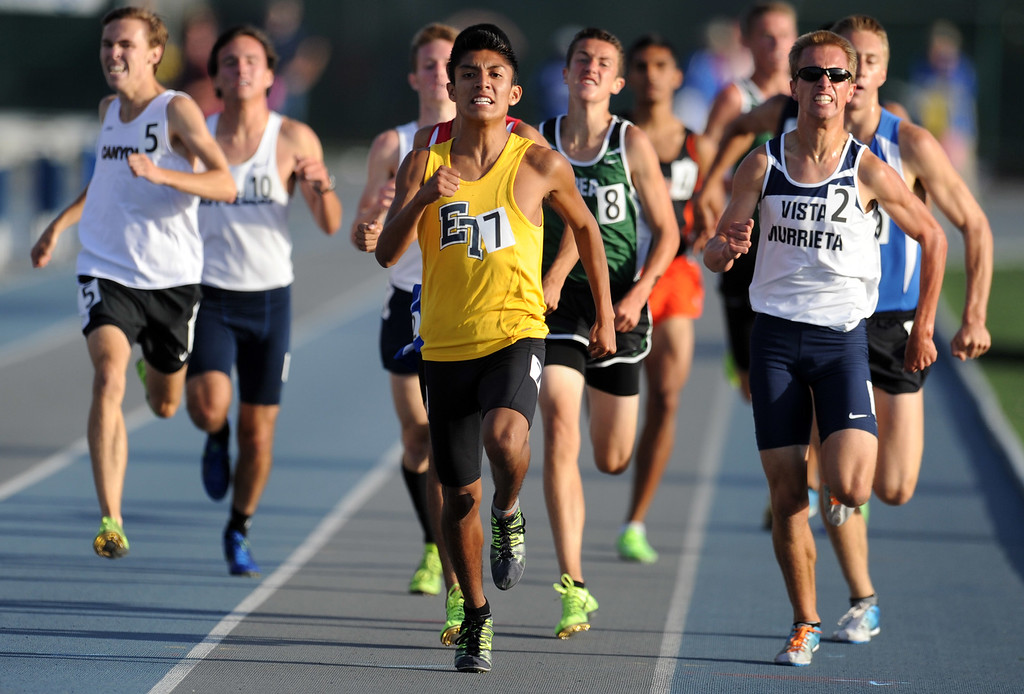 . El Toro\'s Juan Gonzalez wins the 1600 meter race during the CIF-SS Masters Meet at Cerritos College on Friday, May 24, 2013 in Norwalk, Calif.  (Keith Birmingham Pasadena Star-News)