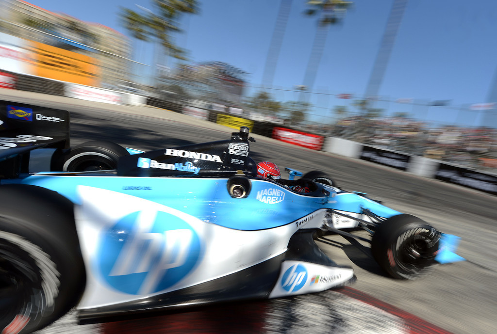 . (Will Lester/Staff Photographer)  Indycar driver Simon Pagenaud drives through the hairpin during the Friday afternoon practice session April 19, 2013 at the 39th annual Toyota Grand Prix of Long Beach.