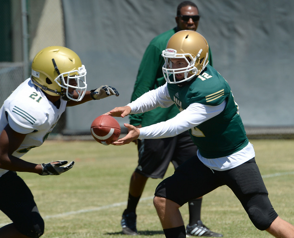 . Quarterback Josh Love during Long Beach Poly football practice Saturday, August 16, 2014, Long Beach, CA.   Photo by Steve McCrank/Daily Breeze