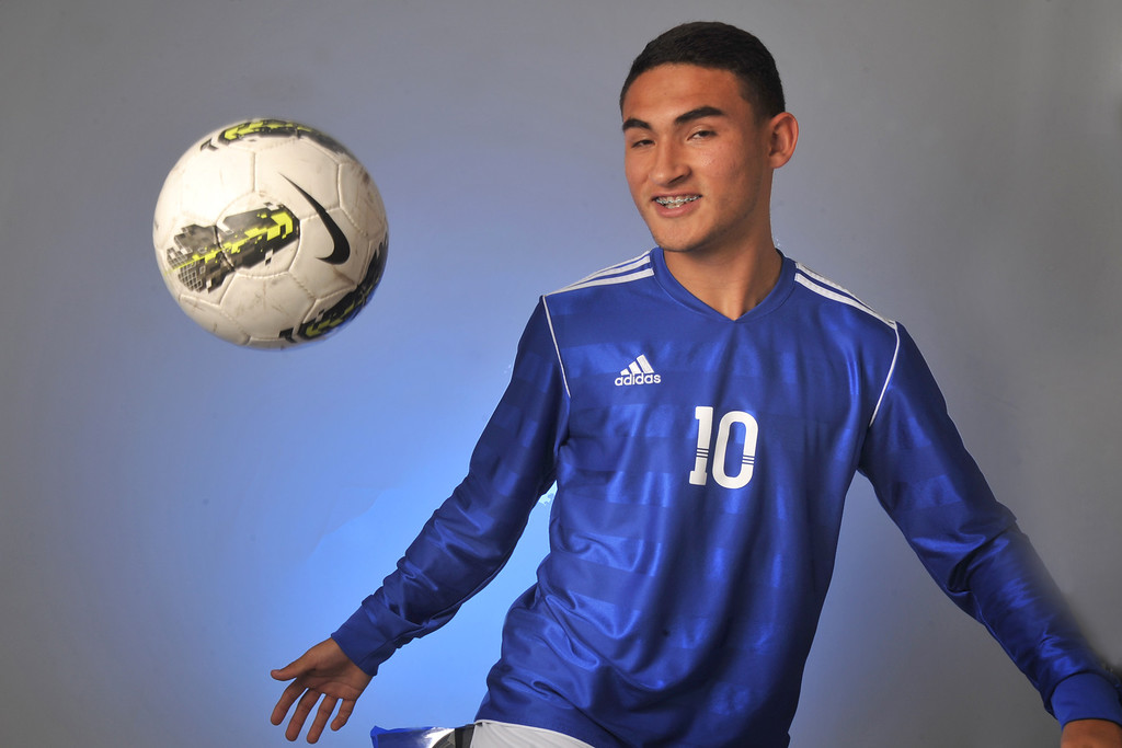 Description of . Christian Roldan from El Rancho High School was selected as the Whittier Daily News All-Area Boys Soccer Player of the Year on Wednesday March 27, 2013. (SGVN/Staff Photo by Keith Durflinger)