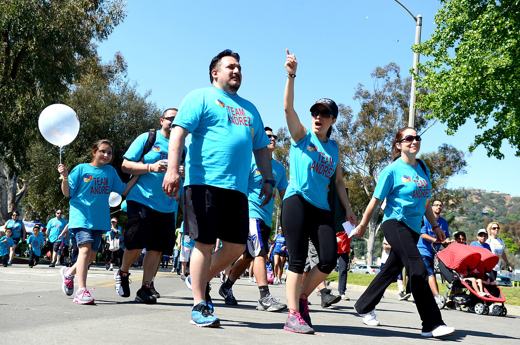 Description of . The 11th annual Los Angeles Walk Now for Autism Speaks is held at the Rose Bowl in Pasadena Saturday April 20, 2013. (SGVN/Staff Photo by Sarah Reingewirtz)