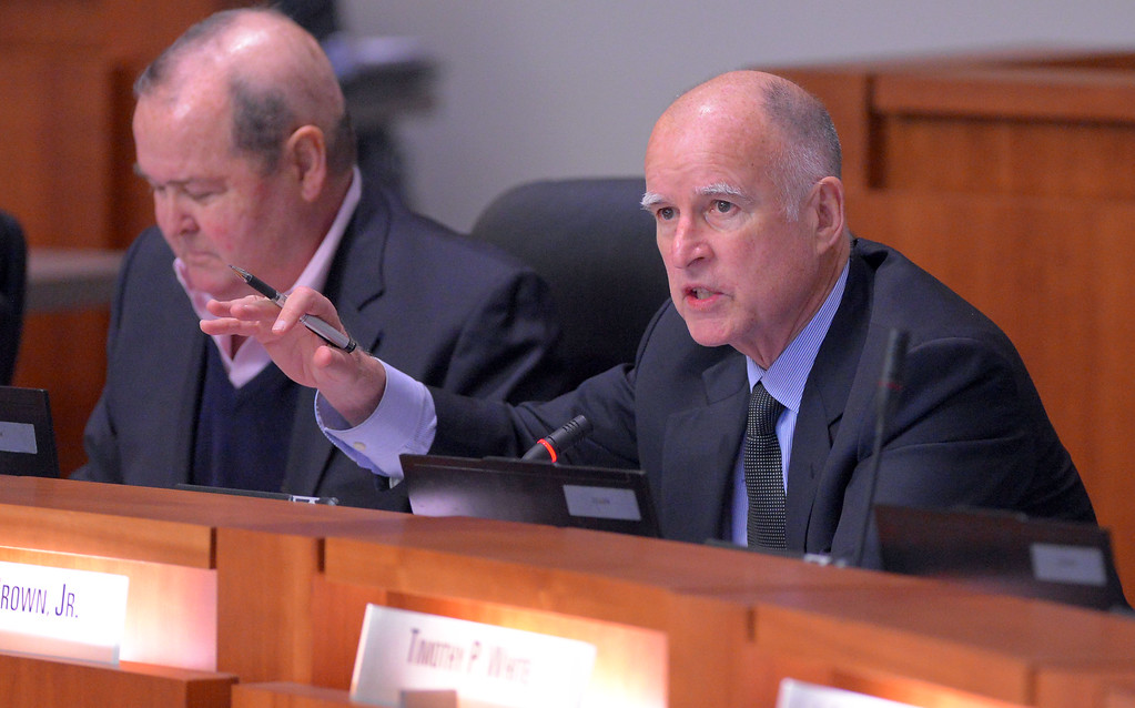 . Gov. Jerry Brown address the CSU board during a meeting in Long Beach, CA on Wednesday, January 29, 2014.  (Photo by Scott Varley, Daily Breeze)