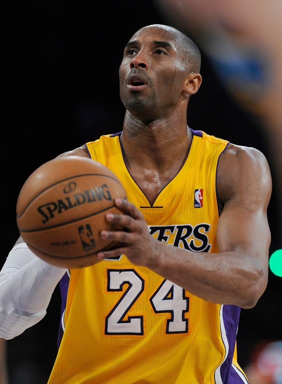 . Kobe Bryant at the line in the final seconds. The Lakers defeated New Orleans Hornets 104-96 in a game played at Staples Center in Los Angeles, CA 4/9/2013(John McCoy/Staff Photographer