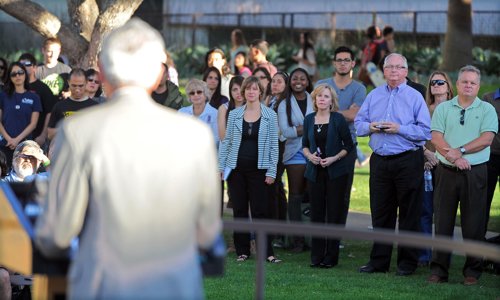 . CSULB celebrates Veterans Day with a short ceremony on the upper campus in Long Beach, CA on Thursday, November 7, 2013.  Students and guests listen to Rep. Alan Lowenthal deliver his remarks. (Photo by Scott Varley, Daily Breeze)