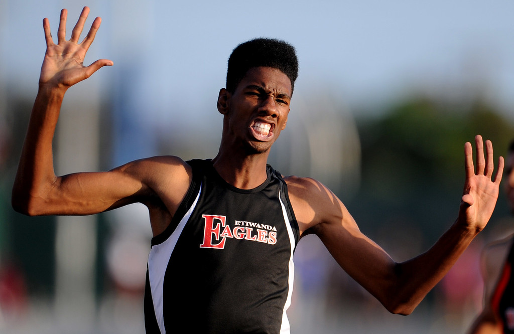 . Etiwanda\'s Miles Parish wins the 400 meter dash during the CIF-SS Masters Meet at Cerritos College on Friday, May 24, 2013 in Norwalk, Calif.  (Keith Birmingham Pasadena Star-News)