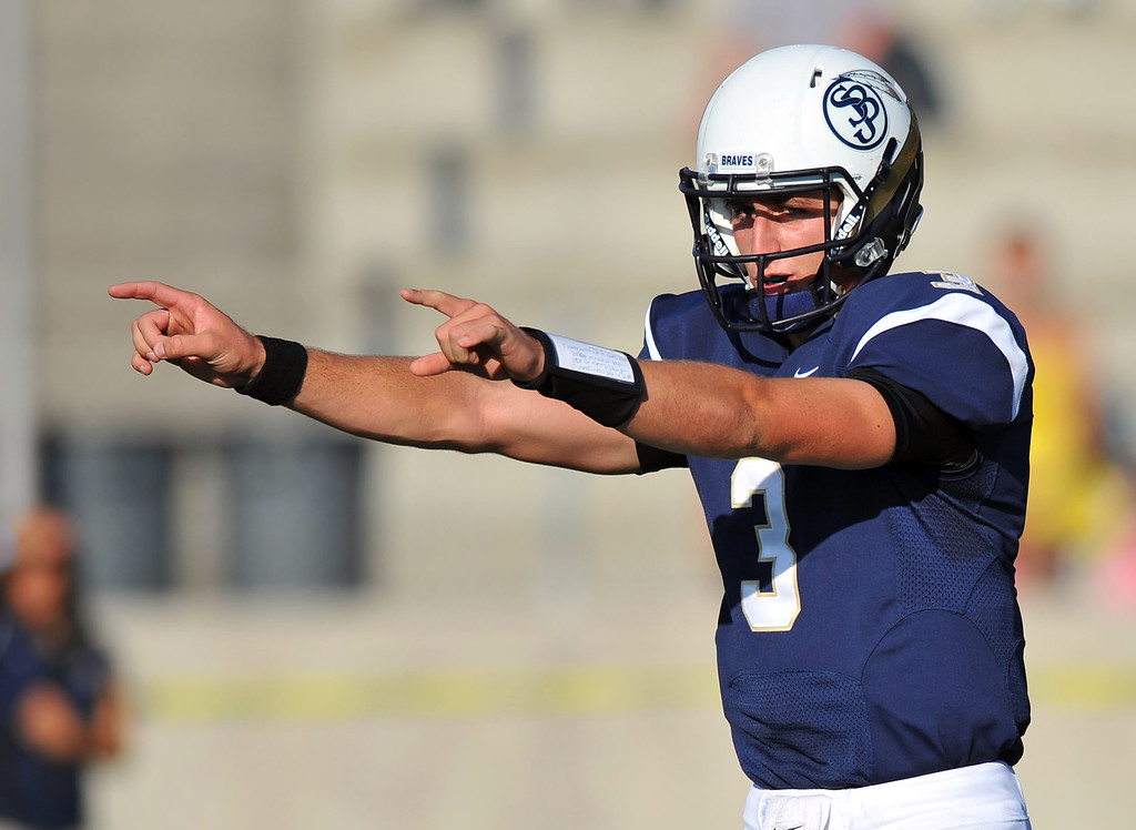 . St. John Bosco football takes on Chandler, Airzona as part of the Mission Viejo Classic in Mission Viejo, CA on Saturday, September 14, 2013. St. John Bosco won 52-31.  Bosco QB Josh Rosen sets up a play. (Photo by Scott Varley, Press-Telegram)