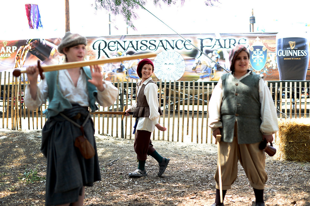 Description of . The Children's Militia prepare before opening for The Queen's Joust show on opening day of the Renaissance Pleasure Faire Saturday, April 6, 2013 at Santa Fe Dam Recreation Area in Irwindale. The fair runs through May 19. (SGVN/Staff Photo by Sarah Reingewirtz)