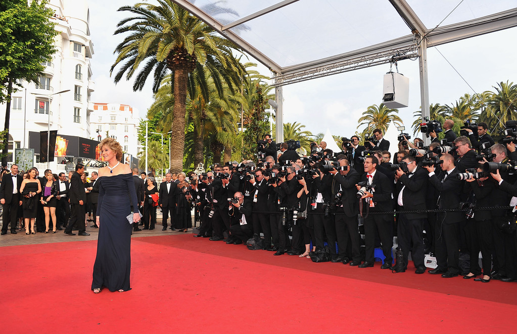""". CANNES, FRANCE - MAY 14: Actress Jane Fonda attends the \""""Pirates of the Caribbean: On Stranger Tides\"""" premiere at the Palais des Festivals during the 64th Cannes Film Festival on May 14, 2011 in Cannes, France.  (Photo by Pascal Le Segretain/Getty Images)"""