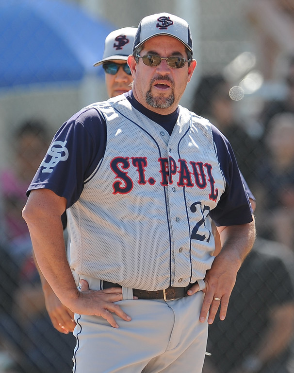 . St. Paul head coach Casey Morales in the second inning of a prep baseball game against Bishop Amat at Bishop Amat High School on Friday, April 19, 2012 in La Puente, Calif. Bishop Amat won 3-2.    (Keith Birmingham/Pasadena Star-News)