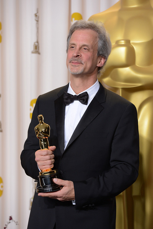 """. William Goldenberg accepts the award for best film editing for \""""Argo\"""" backstage at the 85th Academy Awards at the Dolby Theatre in Los Angeles, California on Sunday Feb. 24, 2013 ( David Crane, staff photographer)"""