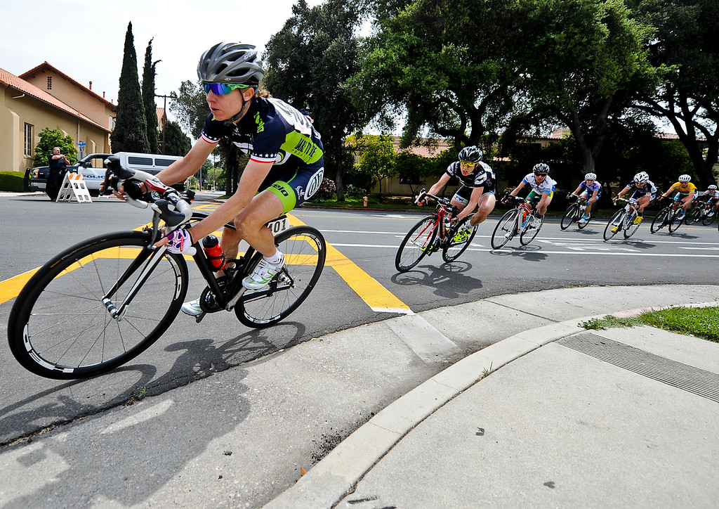 Description of . Pro cyclists race in the 68.1 mile-long Beaver Medical Group Sunset Road Race for Women during the Redlands Bicycle Classic on Sunday, April 7, 2013. (Rachel Luna / Staff Photographer)