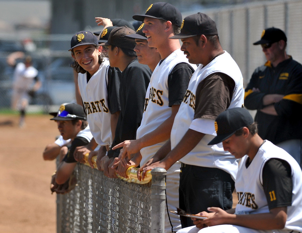 . 4/6/13 - San Pedro High School dugout during a non-league game against Arleta High School on Saturday morning at Harbor City College. Photo by Brittany Murray / Staff Photographer