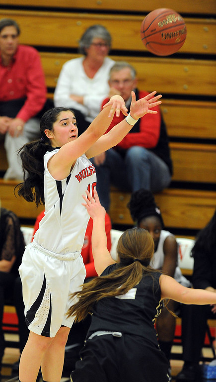 . STUDIO CITY - 02/16/13 - (Photo: Scott Varley, Los Angeles Newspaper Group)  CIF Southern Section Division IV-AA second-round girls basketball playoff game. Bishop Montgomery vs Harvard-Westlake. Bishop Montgomery won 57-42. H-W\'s Natalie Florescu takes a 3-point shot.