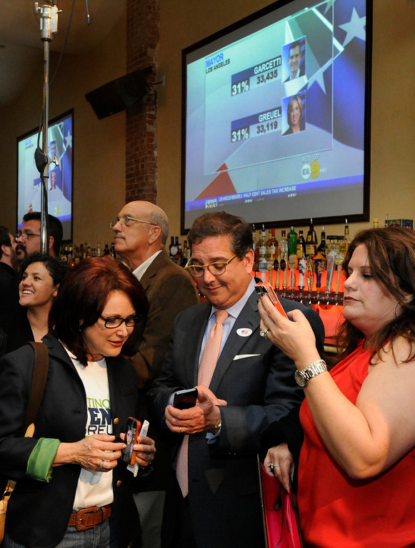 . People look on smart phones for election results. Wendy Greuel held her election night party at the Los Angeles Brewing Company in downtown Los Angeles, CA 3/5/2013(John McCoy/Staff Photographer)