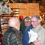 Tom Matthews (right) visits with some of the crowd following the meeting.  The Matthews family once owned the barn and surrounding property.  The family name is well known throughout this re ...