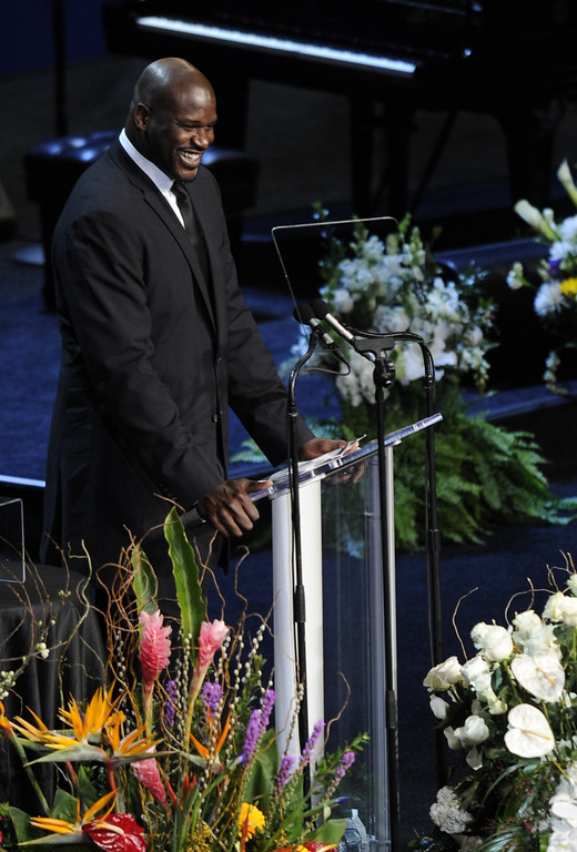 . Shaquille O\'Neal speaks at the service.  Family, friends current and former Lakers players and coaches attended a memorial service at the Nokia Theatre for Laker owner Jerry Buss who passed away on Monday, 2/18/2013 as a result of cancer. Los Angeles, CA 2/21/2013 John McCoy/Staff Photographer