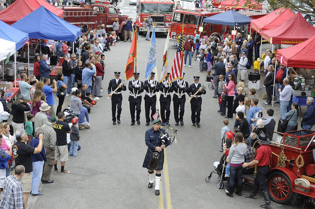 . TORRANCE, CALIF. USA -- Color guard in Torrance, Calif., on April 14, 2013. The Old Torrance Festival Day is a charity fundraiser that will benefits the South Bay Police and Fire Memorial Foundation and the Torrance Relay for Life. Photo by Jeff Gritchen / Los Angeles Newspaper Group