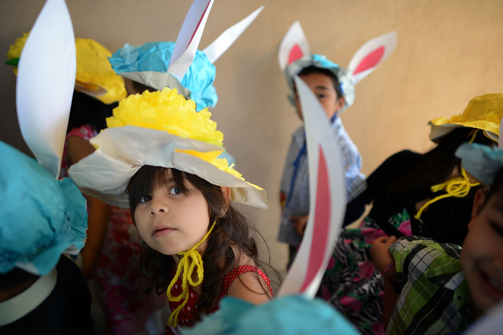. Kindergartners sport their  Easter bonnets during Bertrand Ave. Elementary 40th Kindergarten Spring Bonnet Parade Friday, March 22, 2013 in Reseda. (Hans Gutknecht/Staff Photographer)