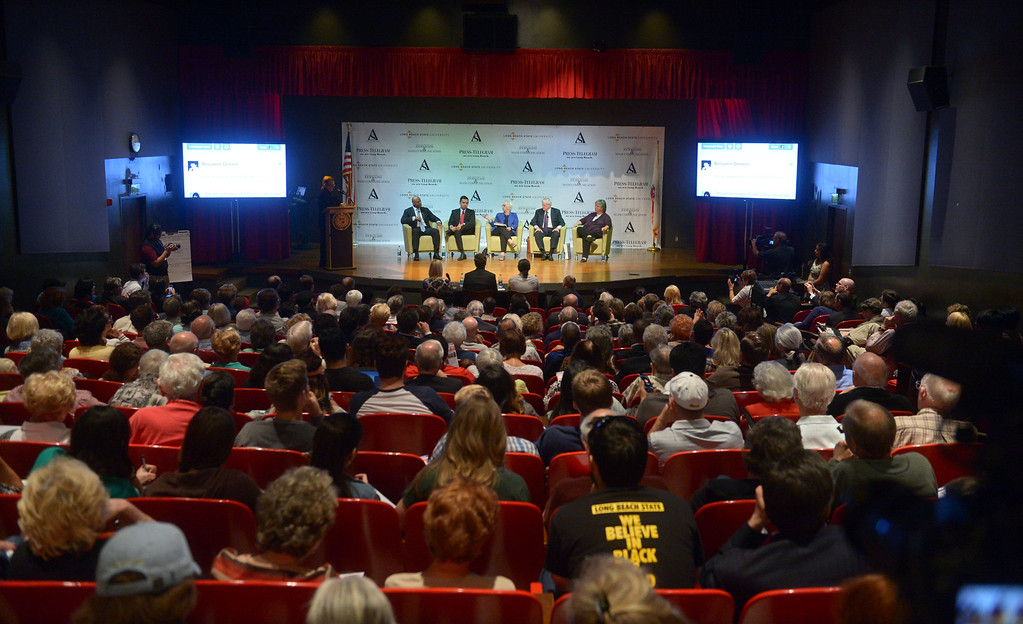 . In front of a full house, Long Beach mayoral candidates, from left, Damon Dunn, Robert Garcia, Bonnie Lowenthal, Doug Otto and Gerrie Schipske take part in a debate at CSULB\'s Beach Auditorium in Long Beach, CA on Wednesday, March 19, 2014. Photo by Scott Varley, Daily Breeze)