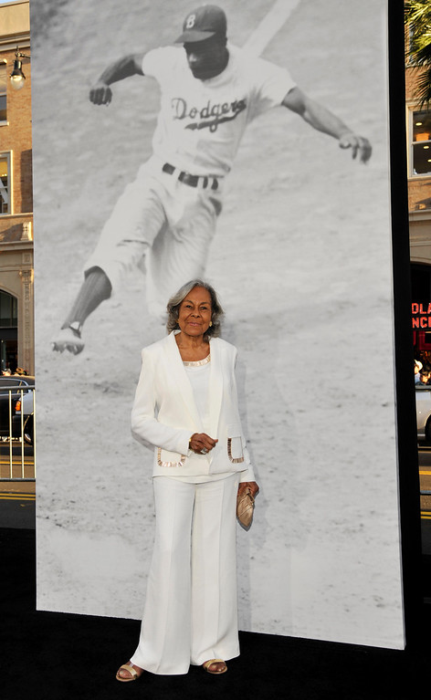 Description of . Rachel Robinson, widow of the late baseball legend Jackie Robinson, poses at the Los Angeles premiere of the film at the TCL Chinese Theater on Tuesday, April 9, 2013 in Los Angeles. (Photo by Chris Pizzello/Invision/AP)
