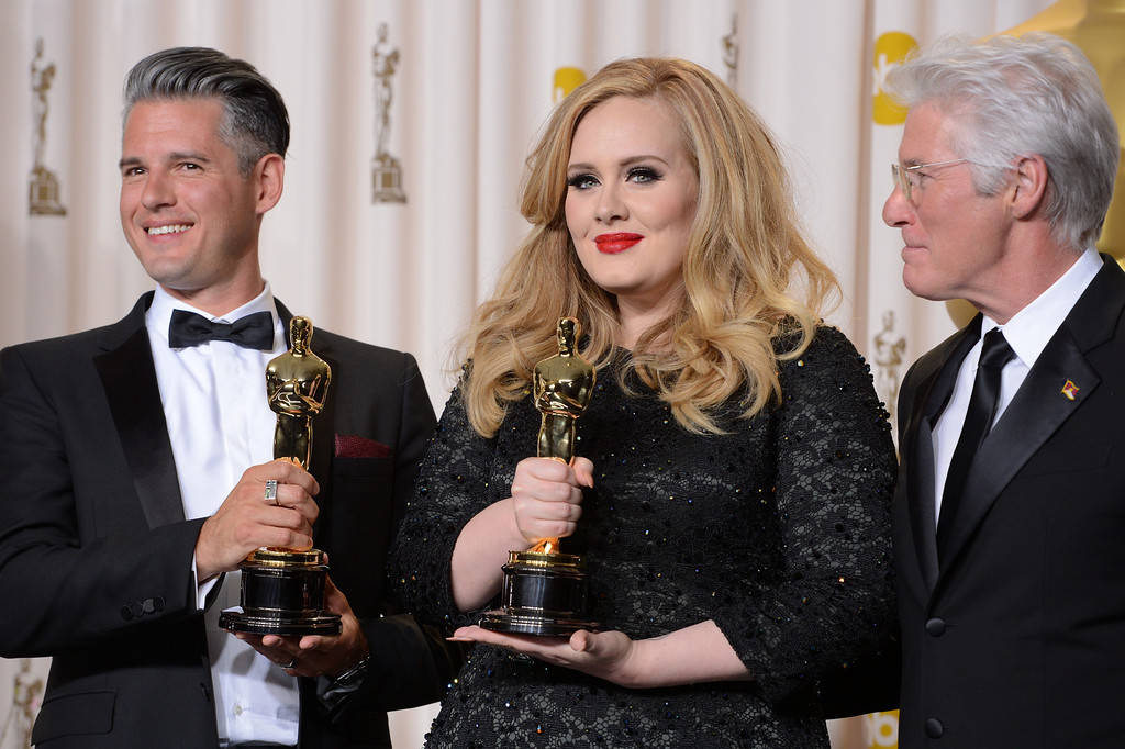 """. musician/producer Paul Epworth  and Singer Adele won the award for best original song for \""""Skyfall\"""" from \""""Skyfall\"""" backstage at the 85th Academy Awards at the Dolby Theatre in Los Angeles, California on Sunday Feb. 24, 2013 ( David Crane, staff photographer)"""
