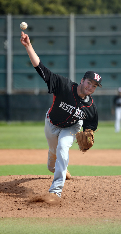 . Westchester starting pitcher #33 Ben McKendall got the loss as Mira Costa defeated Westchester 2-1 at home in boy\'s baseball.  Photo by Brad Graverson 3-26-13