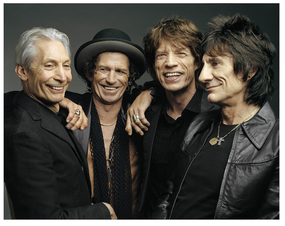 ". This recent photo supplied by the Rolling Stones shows the group posing during a photo shoot. The group celebrated Mick Jagger\'s 62nd birthday by announcing the release date for their first studio CD in eight years. ""A Bigger Bang\"" will be released Sept. 6, the Stones announced Tuesday, July 26, 2005. They are, from left to right: Charlie Watts, Keith Richards, Mick Jagger, and Ron Wood. The Stones kick off their world tour Aug. 21 at Fenway Park in Boston. (AP Photo/The Rolling Stones, Mark Seliger)"