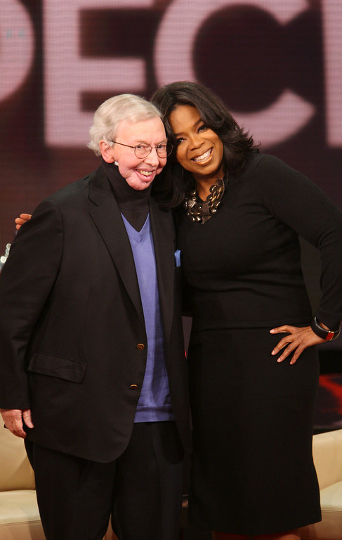 ". In this photo released by Harpo Productions, Inc., talk-show host Oprah Winfrey, right, and film critic Roger Ebert are seen during taping of ""The Oprah Winfrey Show\"" at Harpo Studios in Chicago, Friday, Feb. 26, 2010. The show will air nationally on Tuesday, March 2, 2010.  (AP Photo/Harpo Productions, Inc., George Burns)    **MANDATORY  CREDIT: Harpo Productions, George Burns. NO SALES**"