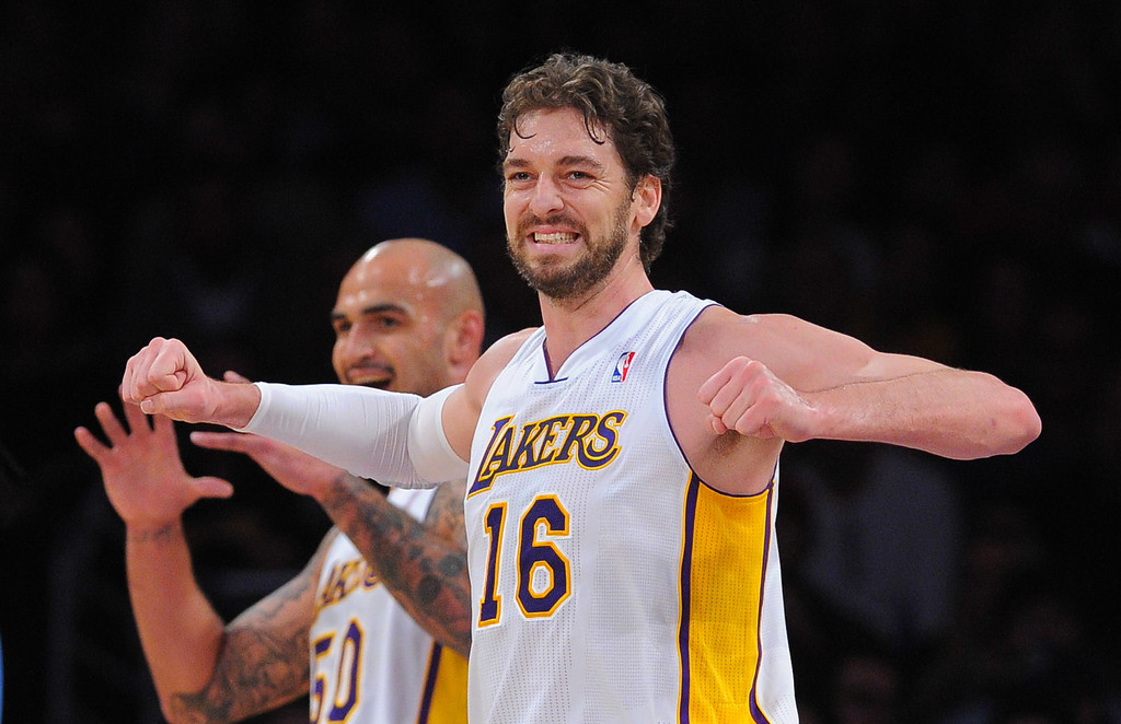 . Lakers Pao Gasol grimaces after a Nuggets basket at the Staple Center in Los Angeles, CA on Sunday, January 5, 2014. 1st half.  (Photo by Scott Varley, Daily Breeze)