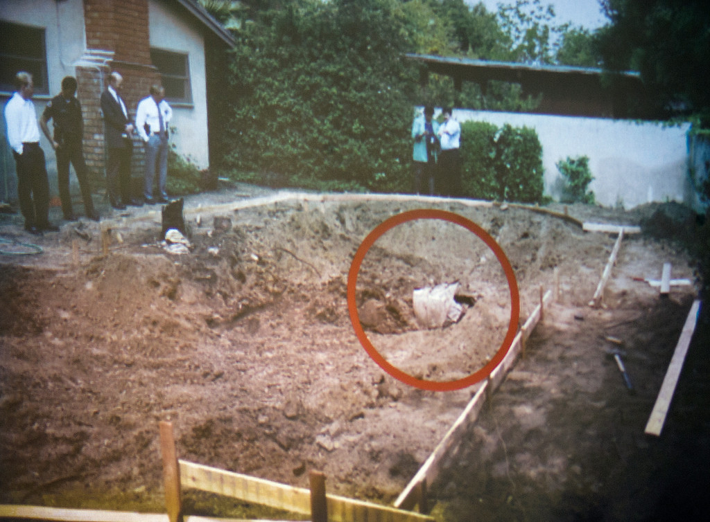 . Photo of swimming pool area being unearthed 1994 and finding the remains of John Sohus in the backyard of a home on Loraine Road in San Marino. Final arguments by prosecutor Habib Balian in the murder trial of Christian Karl Gerhartsreiter, at Clara Shortridge Foltz Criminal Justice Center in Los Angeles Tuesday,  April 9, 2013. He has pleaded not guilty to the killing of John Sohus, 27, who disappeared with his wife, Linda, in 1985 while Gerhartsreiter was a guest cottage tenant at the home of Sohus\' mother, where the couple lived.