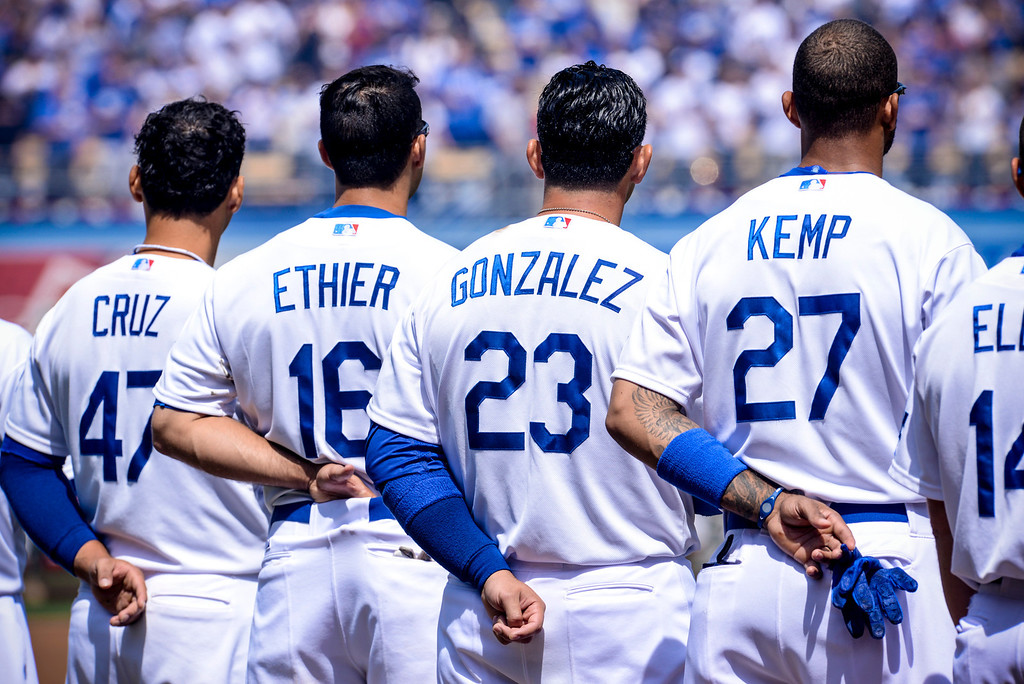 . Dodgers line up for the national anthem at opening day at Dodger Stadium Monday (4/1/13).  Photo by David Crane/Los Angeles Daily News.