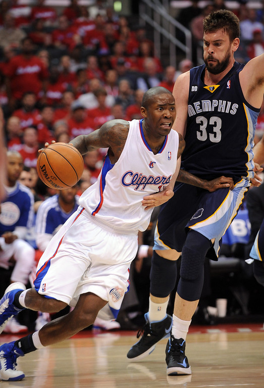 . Clippers guard Jamal Crawford drives around Marc Gasol of the Memphis Grizzlies during game 2 of the 2013 NBA Western Conference Playoffs April 22, 2013 in Los Angeles, CA.(Andy Holzman/Staff Photographer)