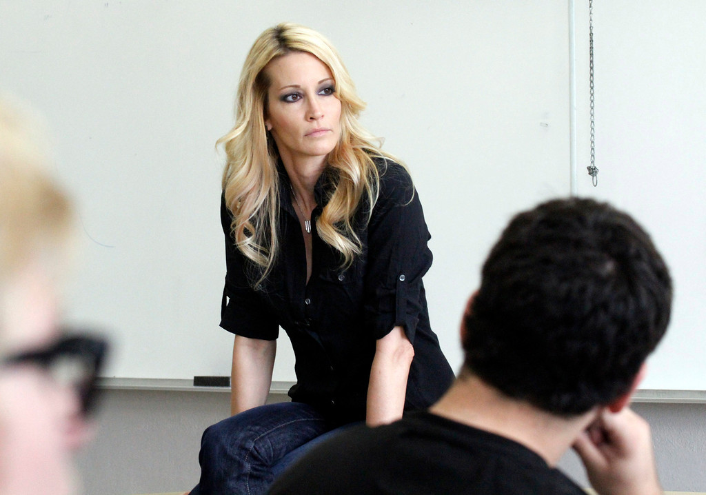 ". Jessica Drake, Sex Educator and Adult Film Star, listens to a student ask a question about being in the porn industry during Professor Hugo Schwyzer\'s ""Navigating Pornography\"" class at Pasadena City College, in Pasadena, Wednesday, March 20, 2013. (Correspondent Photo by James Carbone/SXCITY)"