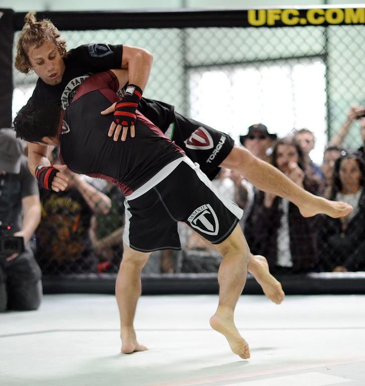 . UFC fighter Urijah Faber during an open workout at the UFC Gym in Torrance, CA Wednesday, February 20, 2013. (Hans Gutknecht/Staff Photographer)