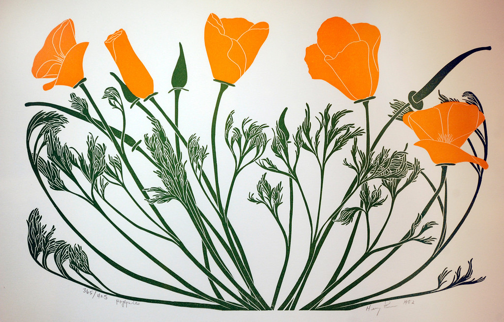 """. This California Poppy is a linoleum block print done by Henry Evans, 1918-1990. \""""When they were wild,\"""" is the Huntington Library\'s new Wildflower exhibition which kicks off a month of talks, workshops and wildflower sales. San Marino, CA 3/8/2013(John McCoy/Staff Photographer)"""