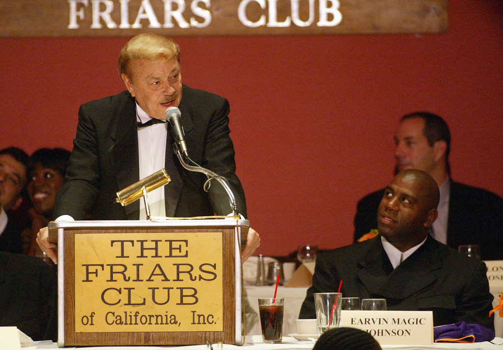". Dr. Jerry Buss at the Friars Club in Beverly Hills, Ca. to honor and roast Earvin ""Magic\"" Johnson with a Lifetime Achievement Award on Sunday, Oct. 27, 2002. Photo by Kevin Winter/Getty Images."