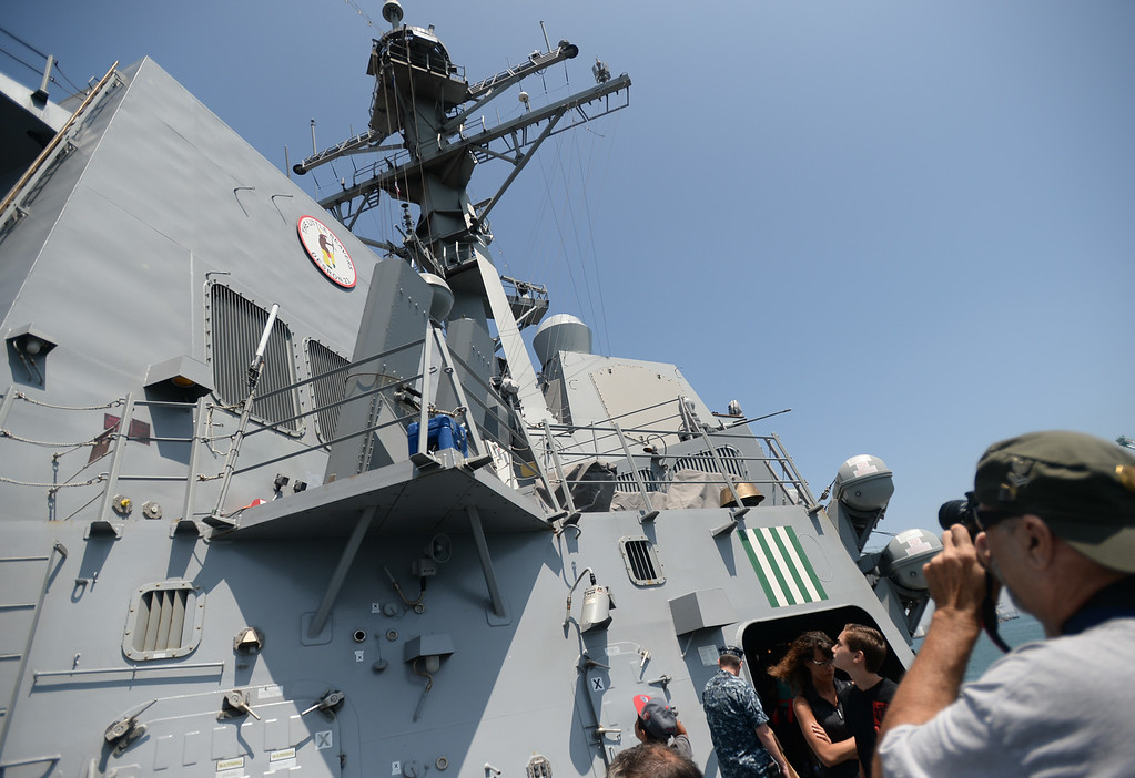 . People take a tour of the USS Spruance, an Arleigh Burke-class guided missile destroyer, which is docked in the Port of Los Angeles for Navy Days. Saturday, August 09, 2014, San Pedro, CA.   Photo by Steve McCrank/Daily Breeze