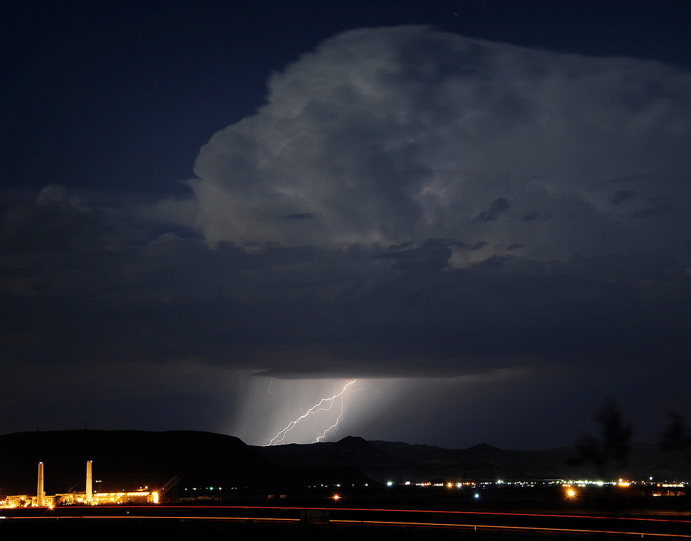 Description of . Lightning strikes and lights up the skies as monsoon storms pass throughout the high deserts area early Monday morning, Aug. 19, 2013 - Barstow CA. Photo by Gene Blevins/LA Daily News
