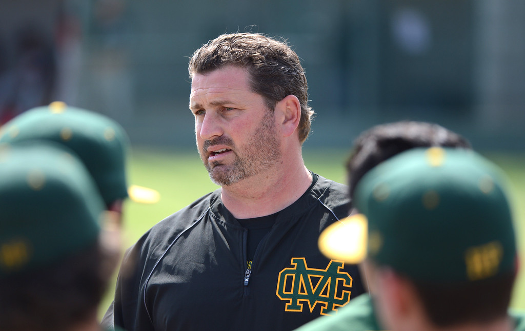 . Mira Costa baseball Coach Cassidy Olson returned after a suspension and got the win as Mira Costa defeated Westchester 2-1 at home in boy\'s baseball.  Photo by Brad Graverson 3-26-13