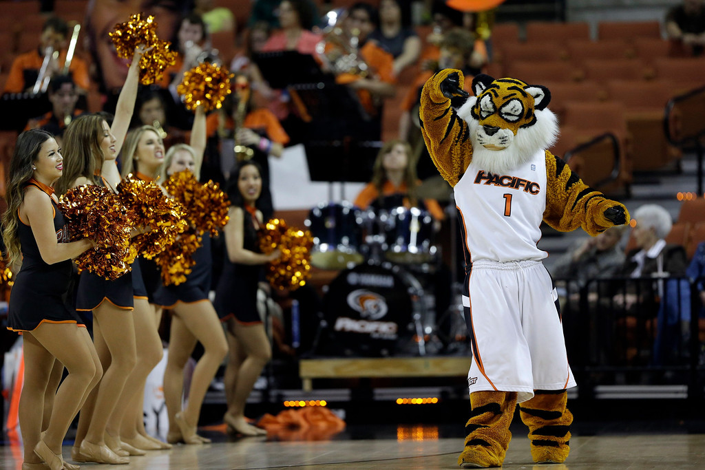 . The Pacific mascot during the first half of a second-round game of the NCAA college basketball tournament against the Miami Friday, March 22, 2013, in Austin, Texas.  (AP Photo/Eric Gay)