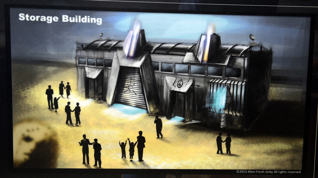 Description of . Artist rendering of the storage building to be built at Alien Fresh Jerky in Baker, CA, Thursday, April 3, 2014. The owner is planning to build a UFO shaped hotel behind the popular Alien Fresh Jerky store. (Photo by Jennifer Cappuccio Maher/Inland Valley Daily Bulletin)