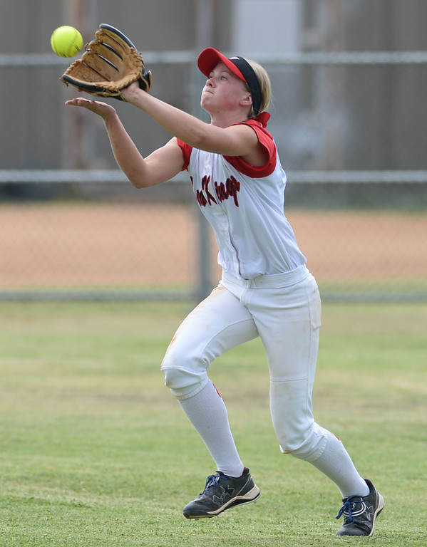 . Palos Verdes\' MacKenzie Tilles (8) makes a catch in center on a St. Paul hit in a CIF-SS Division III semifinal softball game Tuesday, May 27, 2014, Palos Verdes Estates, CA.   Palos Verdes lost 10-0. Photo by Steve McCrank/Daily Breeze
