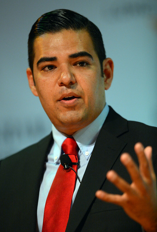 . Long beach mayoral candidate Robert Garcia during a debate at CSULB\'s Beach Auditorium in Long Beach, CA on Wednesday, March 19, 2014. Photo by Scott Varley, Daily Breeze)