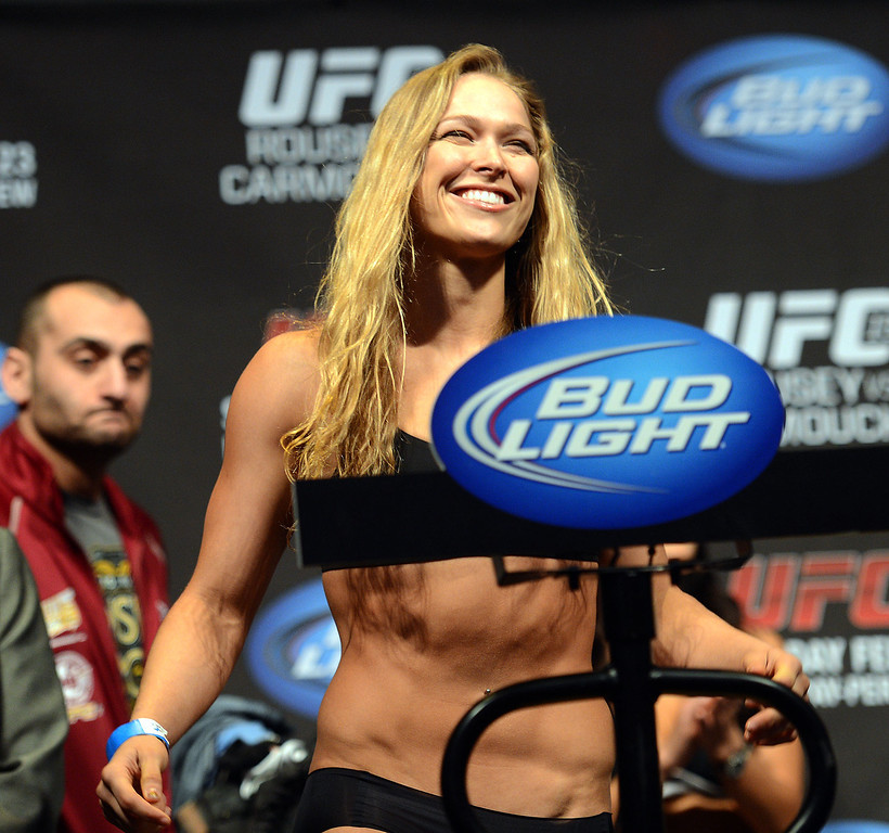 . UFC women�s bantamweight champion Ronda Rousey  during weigh-ins for UFC 157 Rousey vs Carmouche at the Honda Center in Anaheim Friday, February  22, 2013.  (Hans Gutknecht/Staff Photographer)