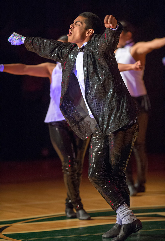 Description of . A Michael Jackson tribute entitled This is It during Pioneer High School presents a preview of its 50th annual Titanette Revue entitled Luv to Dance at the Whittier campus April 17, 2013.   (SGVN/Staff photo by Leo Jarzomb)