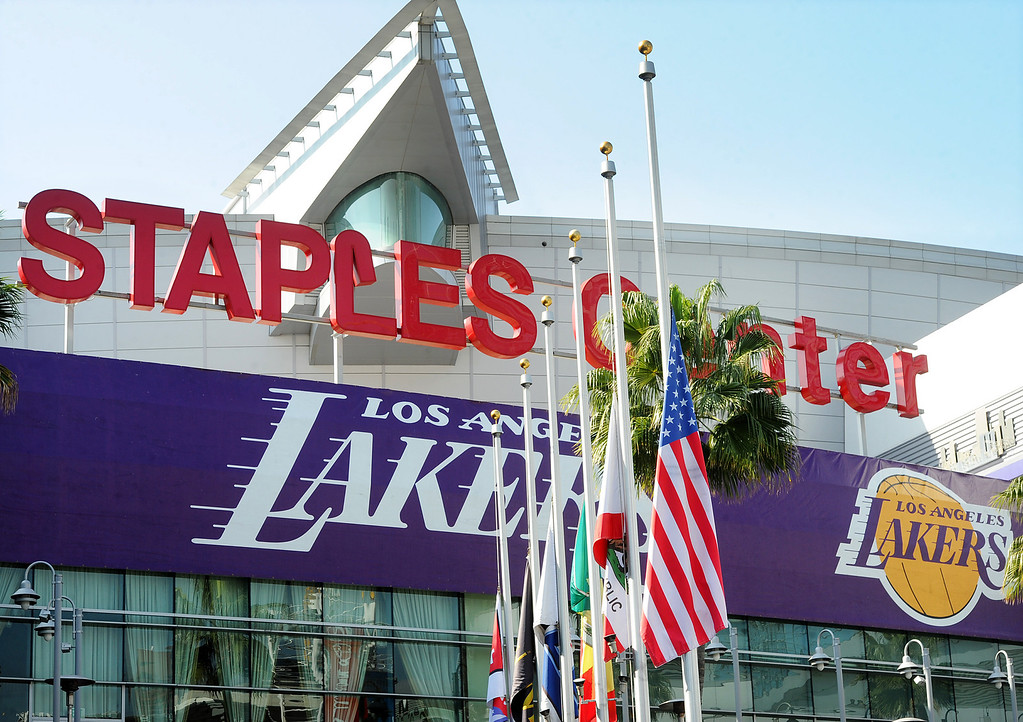 . Flags flies at half-staff for Lakers owner Dr. Jerry Buss died today at the Staples Center in Los Angeles on Monday, Feb. 18, 2013. Buss, 80, died after a long battle with cancer. (SGVN/Photo by Walt Mancini/SXCity)